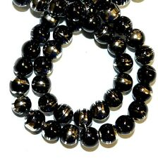 G1524L Black Opaque 8mm Round Silver Metallic Drawbench Swirl Glass Beads 32""