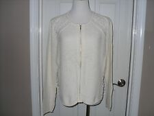 New Chico's Lainey Lace Cardigan Sweater Color Ecru Size 2=12/12 Large $119 NWT
