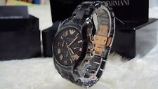 100% Authentic Emporio ARMANI CHRONOGRAPH Rose Gold Ceramic Men's Watch AR1410