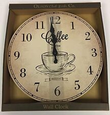 Vintage Style Kitchen Clock - Shabby Chic  Round Wall Clock  Fresh Brewed Coffee