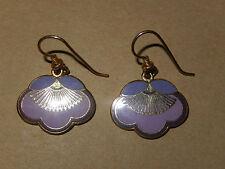 """Vtg Signed Laurel Burch 22k Gold Enameled Purple """"PLUM BLOSSOM"""" Drop Earrings!"""