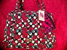 BETSEY JOHNSON WEEKENDER LUGGAGE ROSES LARGE Bag Travel Tote~Pink  NWT 17x12x9