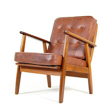 Retro Vintage Danish Teak & Faux Leather Easy Lounge Chair Armchair Modern 1960s