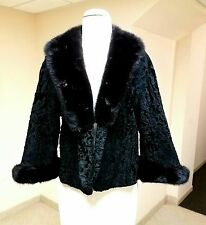 Black Persian Lamb Swakara Astrakhan JACKET Coat Mink  Fur Trim At Collar Cuff M