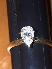 Diamond Engagement Ring 14K Yellow Gold Solitaire Pear Shaped .48 Ct Diamond 6.5