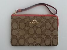 NWT Coach Womens Corner zip Khaki/Pink Sig Jacquard Leather Wristlet F58033 SALE