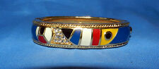 BEAUTIFUL SWAROVSKI CRYSTAL SWAN SIGNED GOLD TONE ENAMEL HINGED BANGLE BRACELET