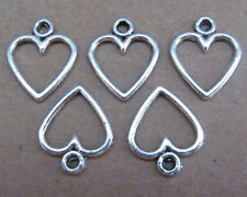 50pc retro charm of Tibet silver swing love heart beads accessories  PL010
