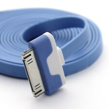 Long 2m Flat Cable for iPhone 4S 4 3GS iPad 2 3 Data Sync Charger USB Lead Blue
