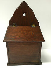 BEAUTIFUL LATE 19TH CENTURY OAK SALT BOX WITH HINGED FALL LID AND ADZED EDGES