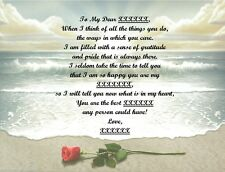 Rose/Beach Personalized Poem Gift 4 Father's Day,Mother's Day,Christmas,Birthday