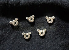(5pcs) silver teddy 3D bear rhinestone nail art charms for nails, acrylic, gel