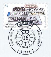 BRD 2006: KfZ-Kennzeichen Nr. 2551 mit dem Bonner Ersttags-Sonderstempel! 1A!