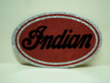NEW VINTAGE INDIAN RED SILVER GLITTER OVAL STICKER 4 X 2.5 DECAL