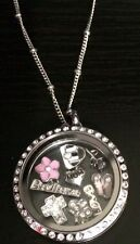 30mm Stainless Steel Memory Floating Magnetic Locket with necklace and 3 charms