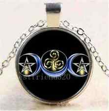 Wicca Pagan Triple Goddess Moon Pentacle Triskelion Amulet Silver Necklace Pouch