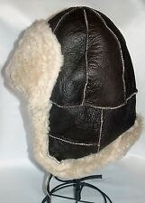 NEW! Sheepskin Shearling Russian Bomber - Hat ear cover & Mittens Unisex Leather