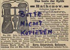 RATHENOW, Werbung 1903, Herm. Scharnbeck Feldstecher Optik Jagd-Fern-Gläser