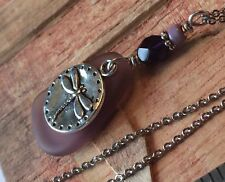 """Dragonfly Purple Sunset Sea Glass Jewelry Necklace 20"""" Nature Gift Box"""