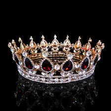 5cm High Ruby Red Sparkling Crystal Gold King Crown Wedding Prom Party Pageant