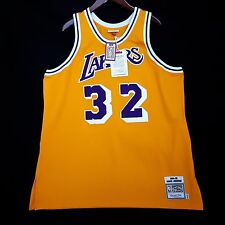 100% Authentic Magic Johnson Mitchell Ness NBA Lakers Gold Jersey 52 2XL - kobe