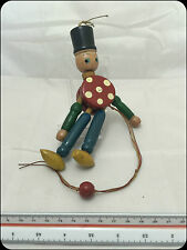 Vintage Wooden Puppet Doll Soldier Dancing Toy Made in Japan Colourful Retro