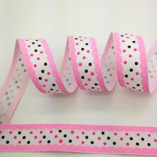"""Hot~5 yds 1"""" 25mm Pink Printed Polka Dot Grosgrain Ribbon Hair Bow Sewing #A008"""
