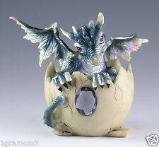 """Blue Baby Dragon Hatching From Egg Figurine Hatchling 4"""" Detailed Resin NIB"""