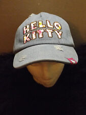 Hello Kitty distressed embroidered country flowers baseball cap denim adjustable