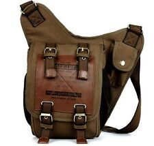 Men's Canvas Leather Shoulder Military Messenger Sling school Travel Hiking Bag