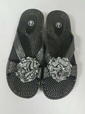 Ladies Black Size 5 Jelly Sandals Flower Diamante Soft Flip Flops Beach Shoes 38