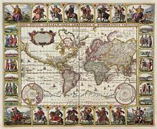 Decorativa Reproducción Vintage Antiguo Color Color Antiguo Visscher Mundo mapa de pared