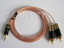 chf6r 1m 3ft Headphone Aux Cable 8 Multi-Core OFC Wire 3.5mm Jack to RCA Plug