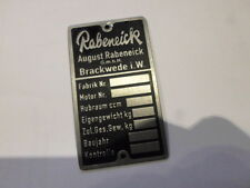 Shield Rabeneick Nameplate Moped Motorcycle Vintage Car S14