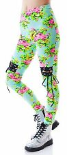 New Lip Service Mint Blue Floral Leggings Lace Up Knees Corset Laces Dolls Kill