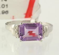 NEW Amethyst Cocktail Ring - 925 Sterling Silver Diamond Women's Size 7 Band