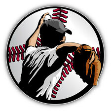 Baseball Pitcher Inside Ball Car Bumper Sticker Decal 5'' x 5''