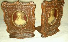 """Vintage 6.5""""X 5"""" Brown Decorative Carved Wood Bookends w/Portraits Victorian"""