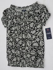 Chaps womens Large smocked shirt peasant black white floral new