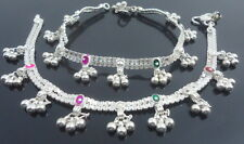 INDIAN SILVER TONE BELLS ANKLET PAYAL BOLLYWOOD PARTY BRIDAL ETHNIC JEWELRY