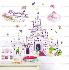 XL Princess Castle Girls Bedroom Wall Stickers Art Decal Transaprent Vinyl Decor