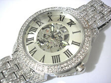 Silver Metal Bling Bling Full Stone Big Case Mechanical Automatic Men's Watch