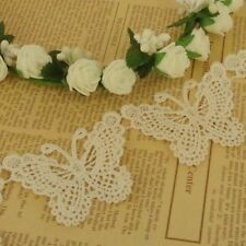 3 x VINTAGE Lace Butterfly Appliques Sewing Wedding Cards Craft Ivory 65mm LC50