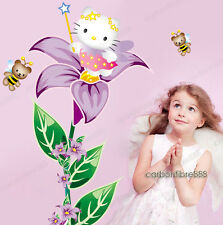 Large Hello Kitty Fairy Flower Wall Stickers Girls Decor Decals Vinyl Removable