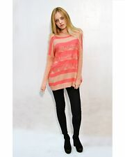 Lady's Knitted Striped Stripe Lace Embellished Button Back Jumper Sweater Top