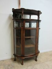 Antique Tiger Oak Bow Glass Paw feet Lead Glass Curio Crystal Display Cabinet