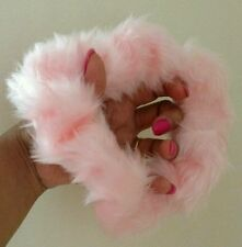 90s 80s LARGE BABY PINK FUN FUR FLUFFY SCRUNCHIE HAIRTIE PONYTAIL VTG