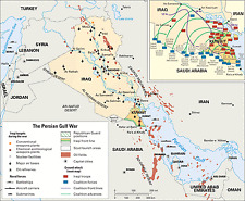 Poster – Gulf War - War Map of Troop Movements (Picture Poster Military Army)