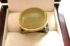 CABOCHON GREEN PREHNITE GOLD RHODIUM 925 SILVER HANDCRAFTED RING P 8