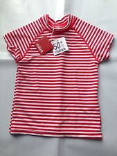 BNWT Boys Sz 1-2 Cute Red/White Stripe Rhubarb Brand Swimming Rash Vest UPF 50+